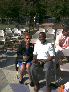 Ms. Gladys B. Otey and Destint Aviation CEO Arthur Johnson pause for a photo.